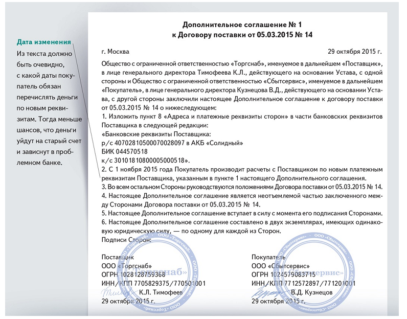 Дополнительное соглашение о перемене лиц в обязательстве образец